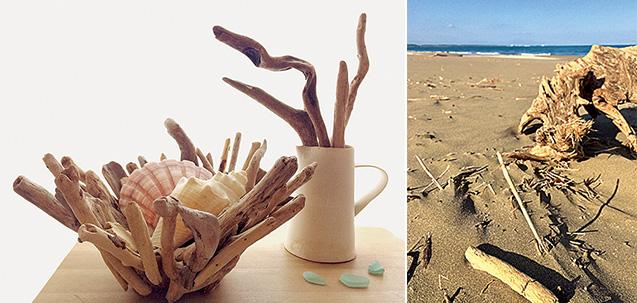 左:自由な発想で作った流木のオブジェ/右:自宅から車で15分ほどの宮崎市内の砂浜に流れ着いた流木