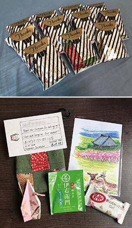 「クラフリン大学の最後の授業で、日本語のクラスの学生に感謝の気持ちを込めたプレゼントをしました」