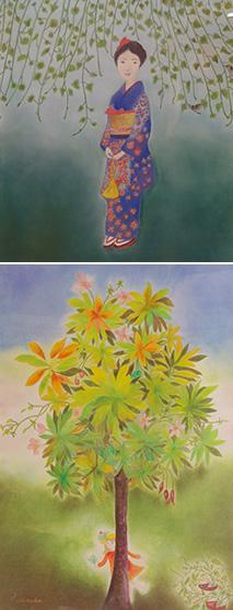 上:成人を迎えた長女を描いた『いぶき』/下:ほのぼのとした作品『すこやかに』