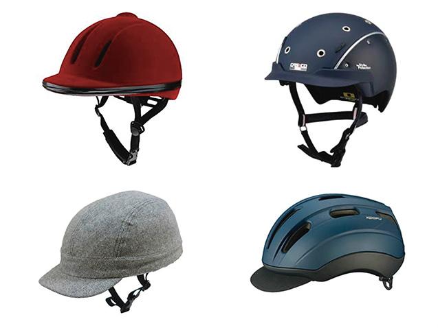 カジュアルなヘルメットだけでも、さまざまな形がある。上2つは乗馬用(写真は筆者提供)