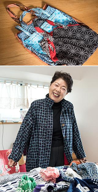上:使わなくなった風呂敷や傘の生地を使って作った買い物用のマイバッグ/下:60年前、就職先の卸問屋の初売りで着たかすりの着物からスプリングコートができた。「思い出の一品だけに、思い入れもひとしおです」