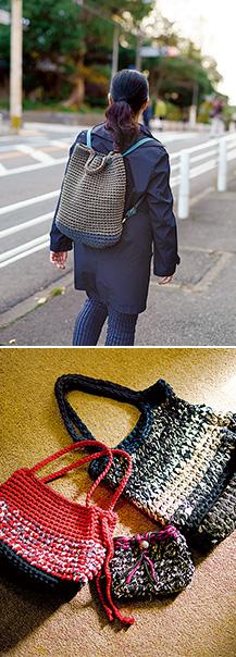 上:職場の同僚にも好評だった、手作りのツーウェイバッグ/下:Tシャツヤーンで編んだハンドバッグの数々。作っているうちに、次の作品のアイデアが湧いてくるという