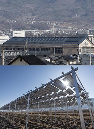上:中学校の屋上に設置された相乗りくん発電所/下:水田の上に太陽光パネルを設置した「相乗りくん とっこSUN発電所」