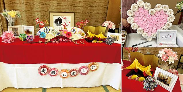 左:三女の披露宴会場の和風ウェルカムコーナー。中央の額、和紙の花くす玉、花束、祝い鶴などを手づくりした/右上:布のバラをハート型のダンボールに貼って飾った/右:下手づくりした花くす玉、花束、祝い鶴