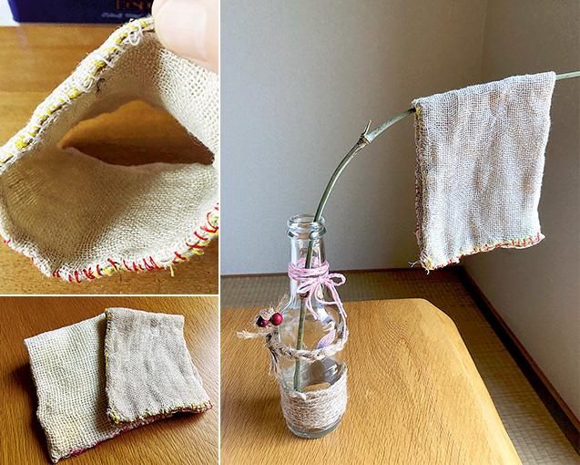 左上:筒状に縫われている/左下:手作りの食器洗いクロス。右が麻素材、左は綿素材/右:空き瓶に挿した竹に、食器洗いクロスを干す