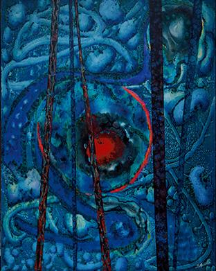 主体となる青色の中に、鮮やかな赤色が映える。「汚染のない世界への思いを、色に込めました」