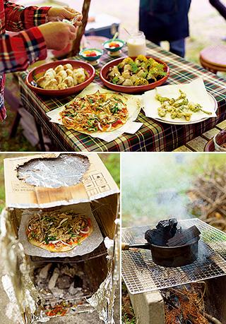 上:手づくりのピザ、タラの芽の天ぷら、炭火で焼いたおにぎり。おにぎりには庭のカエデの葉を添えた/右下:小枝を燃料にして火起こし/左下:ピザは、内側にアルミホイルを貼り付けたダンボールオーブンで焼いた