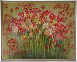 燃えるように咲くヒガンバナを描いた作品。色を重ねることで、奥行きや深みのある色彩が生まれる