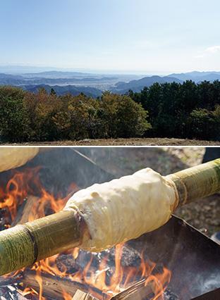 上:山頂からは、静岡市内、駿河湾が一望できる/下:中の節を抜いた竹に生地を塗ってバウムクーヘンを焼く