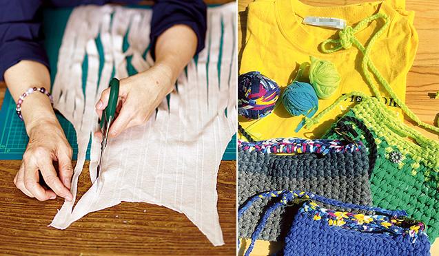 左:古着のシャツに細長く切れ込みを入れ、一本の編み糸にしていく。無心になる癒やしのひととき/右:Tシャツヤーン(左上)と作品のミニポシェット。色違いで作り、その日の気分に合わせて選んでも楽しい