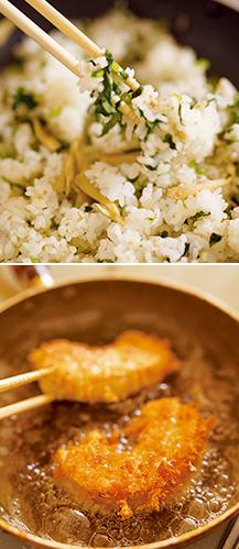 上:大根の葉とマイタケと白ゴマの混ぜごはん/下:こんがり揚がる高野豆腐と車麩のカツ