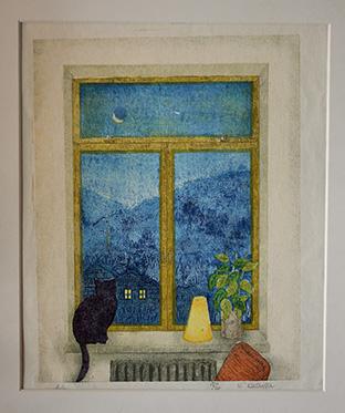 物語を感じさせる、静かな夜の窓辺を表現した作品