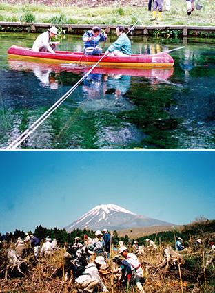 上:年に4回行われている柿田川の水質調査/下:毎年「昭和の日」に開催している富士山麓の植樹活動(写真はともに柿田川みどりのトラスト提供)