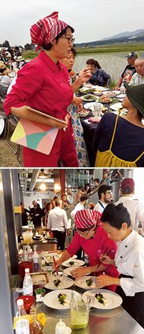 上:2019年、福島県猪苗代町で行われた「ロングテーブル平和の食卓」での一コマ/下:018年、世界で2位に輝いた「The Vegetarian Chance」(イタリア・ミラノ) の決勝戦で腕を振るう(写真提供:ベス企画)