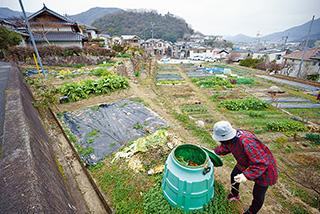 自宅の前の畑。農作業を体験できる「くま農園」として貸し出しもしている