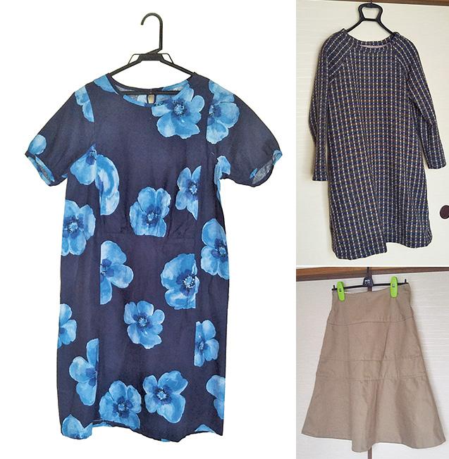 左:初めて作った花柄のワンピース。映画のヒロインが来ていたワンピースと同じもの着たいと思って作りました。/右上:ウールのワンピース。ミシンを使い、失敗しやすい所は手縫いで仕上げました。/右下:厚めのスラブコットンで作った4段切り替えのスカート