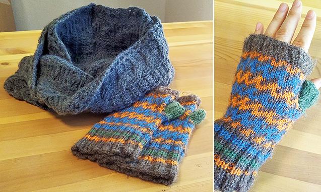 左/田中さんが手編みしたハンドウォーマーとマフラー 上/寒い日でも手元はポカポカと温かい
