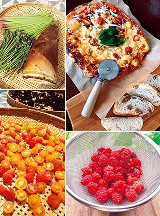 (左上から時計回りに)近くの里山で採れた竹の子と山菜、国産小麦のマルゲリータピザとくるみパン、家庭菜園で実ったラズベリー、天日に干して自家製ドライトマト作り