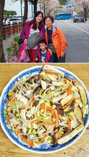 上:蕭さんお手製の五目モヤシ/下:娘さんとお孫さんと。右が蕭さん