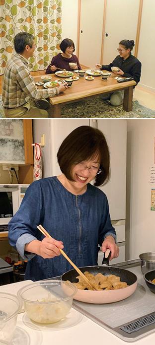 上:ノーミート料理に舌鼓を打つ山中さん一家/下:ソイミートを使って調理する山中さん