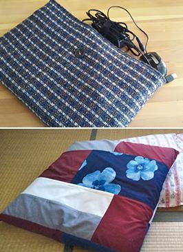 上:ワンピースを作った際に余った布で作ったパソコンケース/下:布団を打ち直して作った座布団