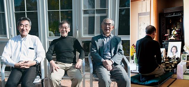 左/自宅テラスで生長の家相愛会の皆さんと。左から萩原伸泰さん、東家さん、井上昭治さん 右/聖経を誦げ、亡くなった容子さんの供養に努めている。「『人間のいのちは永遠生き通し』と実感できるようになりました」