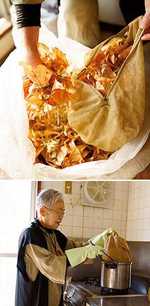 上:玉ねぎの皮は捨てずに草木染め用にとっておく。「八百屋さんも、とっておいて下さるんですよ」/下:台所で鍋を使って草木染めをする