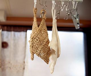 瀬戸さんお手製の麻紐たわし