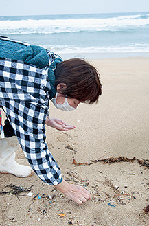 海岸でプラスチックごみを拾う