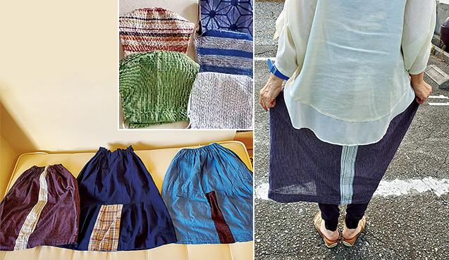 左上:手づくりマスク/左下:阿波しじらの浴衣をリメイクし、手縫いで作ったスカート/右上:軽くて涼しく、はき心地は最高。幅を出すために縫い付けたワンピースの端切れが、アクセントになっている