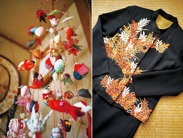 左:色彩が鮮やかな吊るし飾り/右:留袖をリメイクして作った黒のドレス