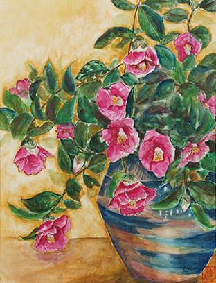 椿を描いた作品。花びらや葉の色合いから生命力が伝わってくる